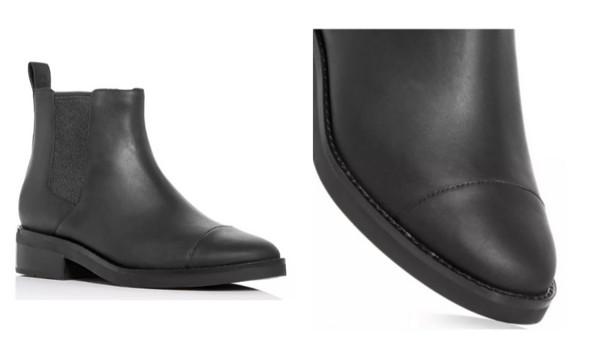 Black Cole Haan Chelsea boot, toe of black boot