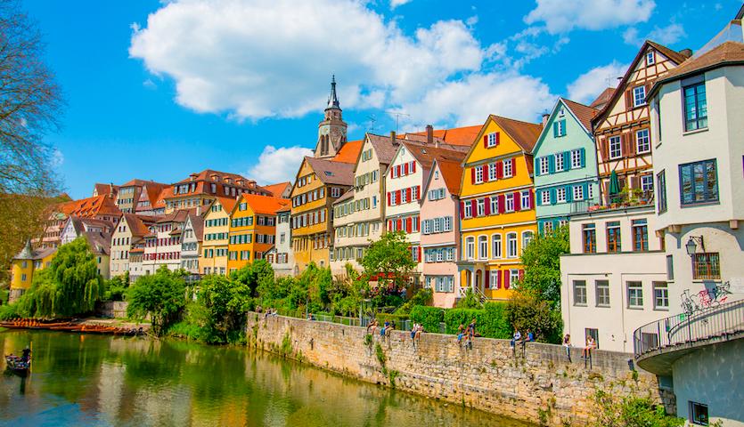 Houses along the river in Stuttgart Germany