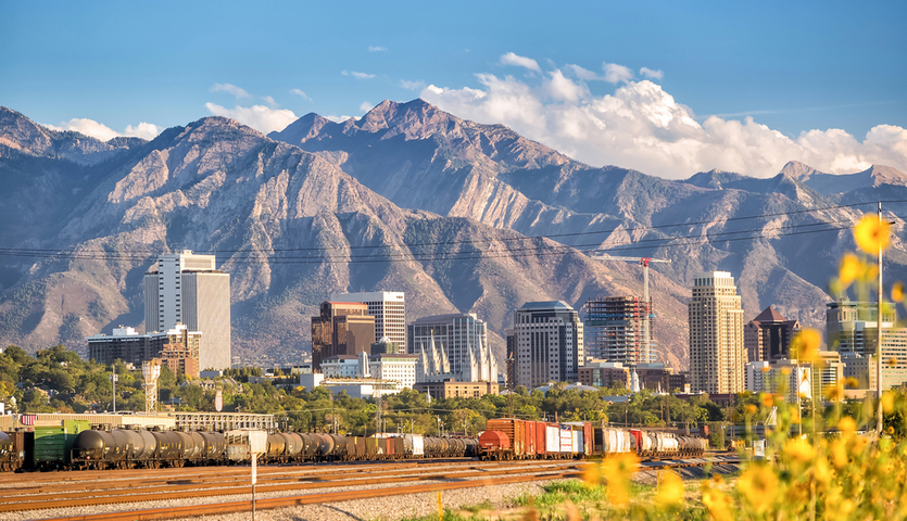 downtown salt lake city skyline with mountains in the background