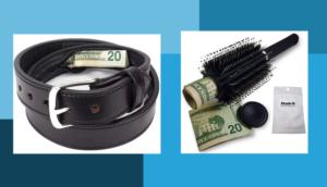 Twenty dollar bill hidden in a black leather belt and hairbrush