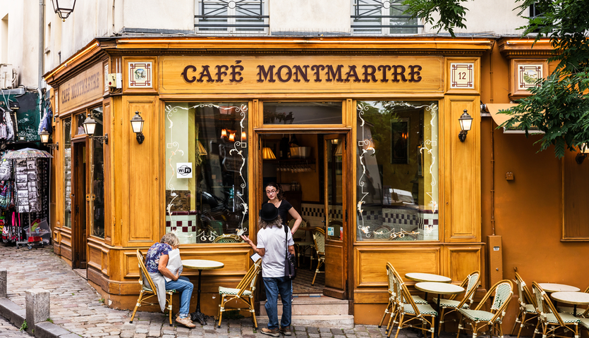 montmartre traditional french cafe in paris france