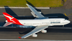 Aerial view of Qantas 747 during takeoff
