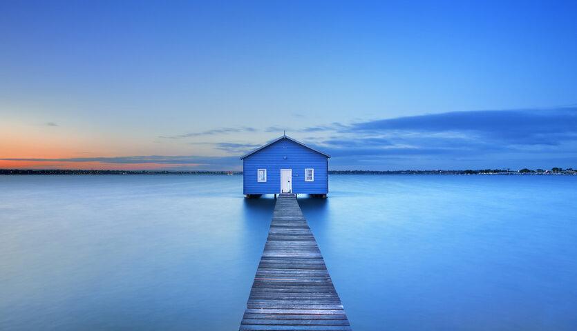 boathouse on matilda bay in the swan river of perth, western australia