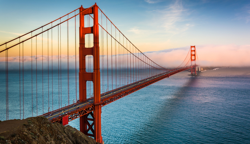 sunset at the golden gate bridge in San Francisco, California