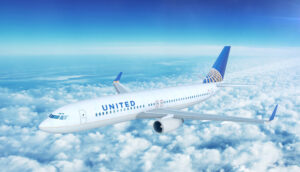 united airlines boeing 737 on approach 3d illustration