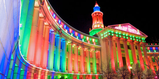 holiday lighting on Denver City and County building Colorado