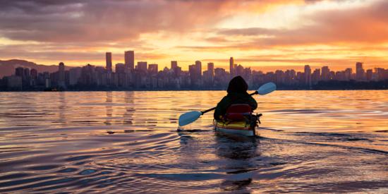 kayaking near vancouver canada at sunrise