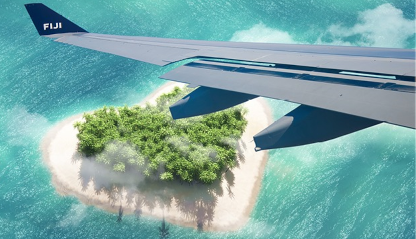 Fiji Airways wing over heart shaped island