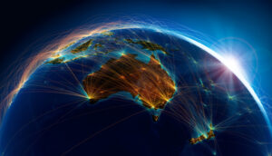 Map depicting the air routes of Australia and New Zealand