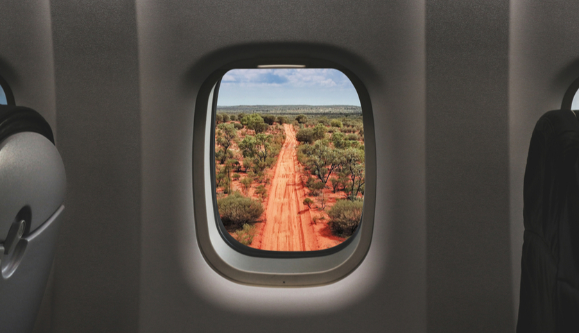 View of the Australian Outback in the Northern Territory from an airplane window