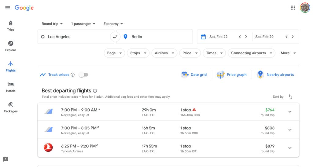 Google-Flight-Search