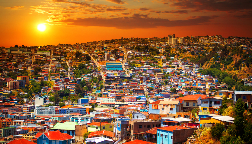 colorful buildings of Valparaiso, Chile at sunset