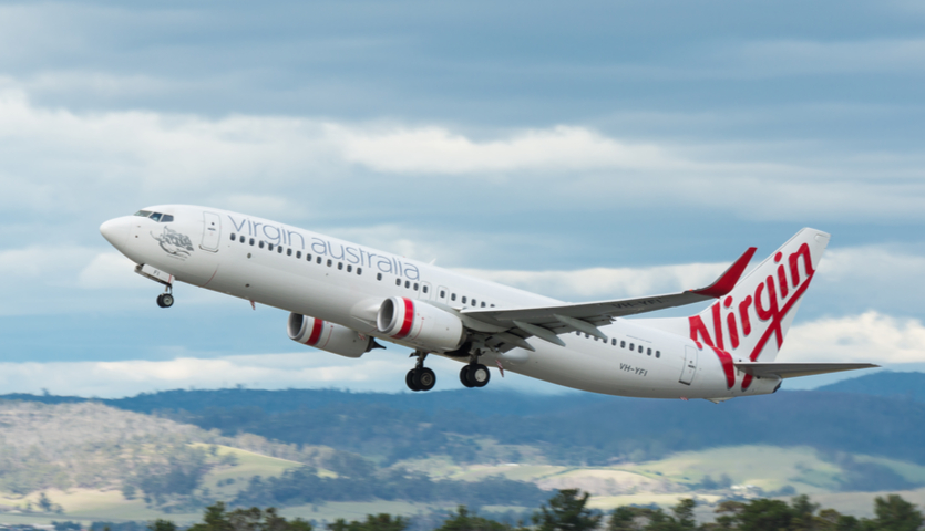 Virgin Australia airplane taking off from Tazmania