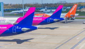 wizz air and easyjet tails budget airlines of Europe