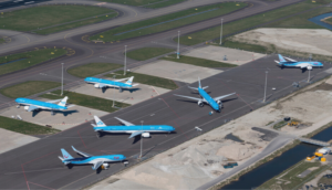 KLM planes parked during coronavirus