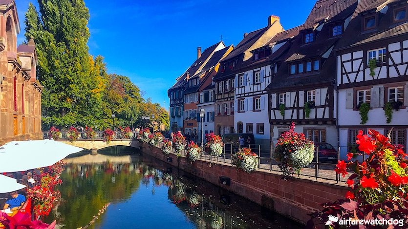 Canals in Colmar France with flowers